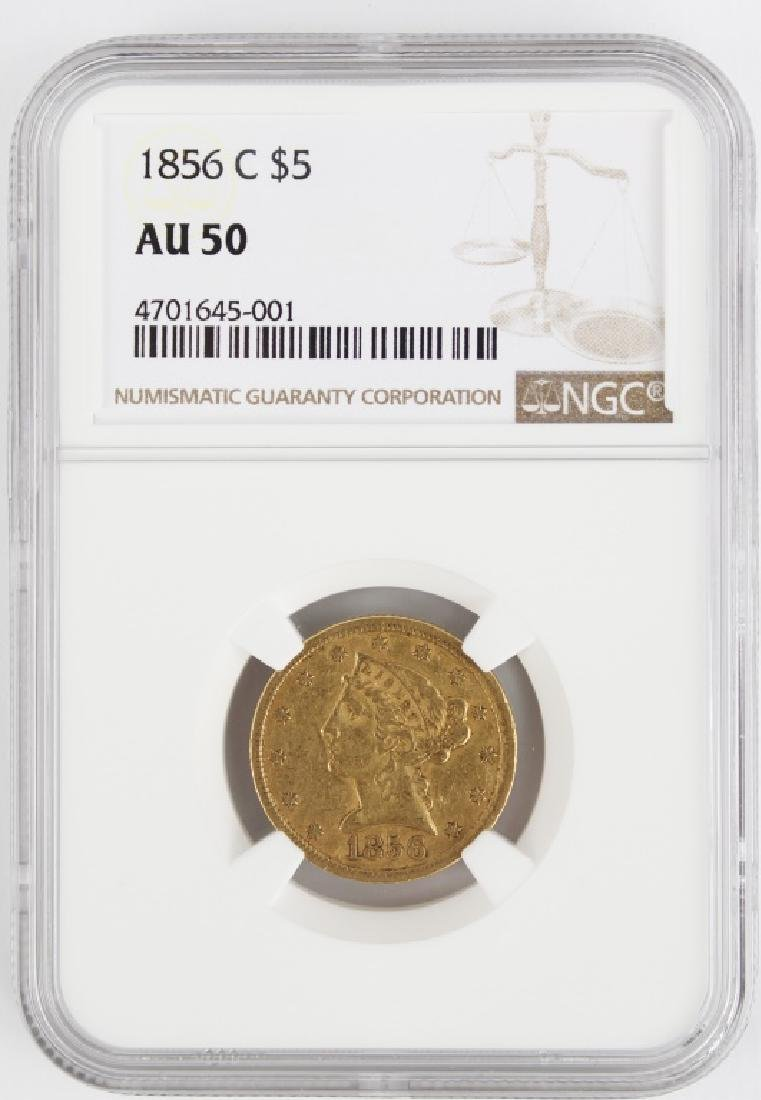 $5.00 US GOLD HALF EAGLE LIBERTY 1856 C NGC AU50