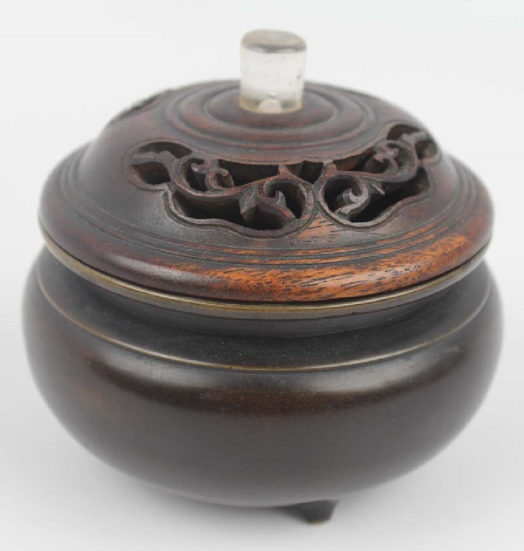CHINESE BRONZE CENSER WITH WOODEN LID