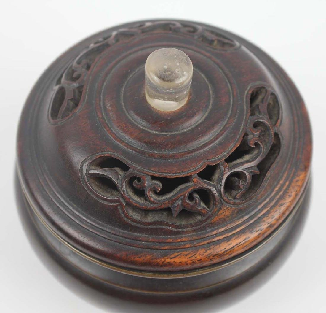 CHINESE BRONZE CENSER WITH WOODEN LID - 2