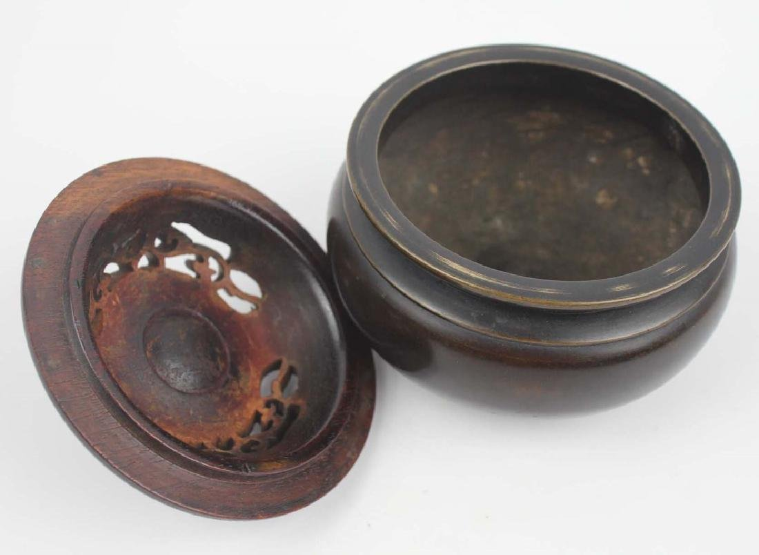 CHINESE BRONZE CENSER WITH WOODEN LID - 4