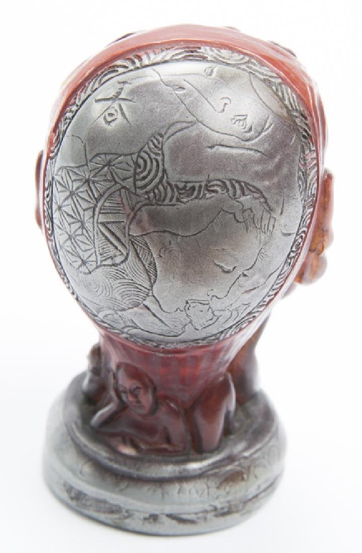 CHINESE STYLE FIGURAL SILVER WRAPPED SEAL - 4