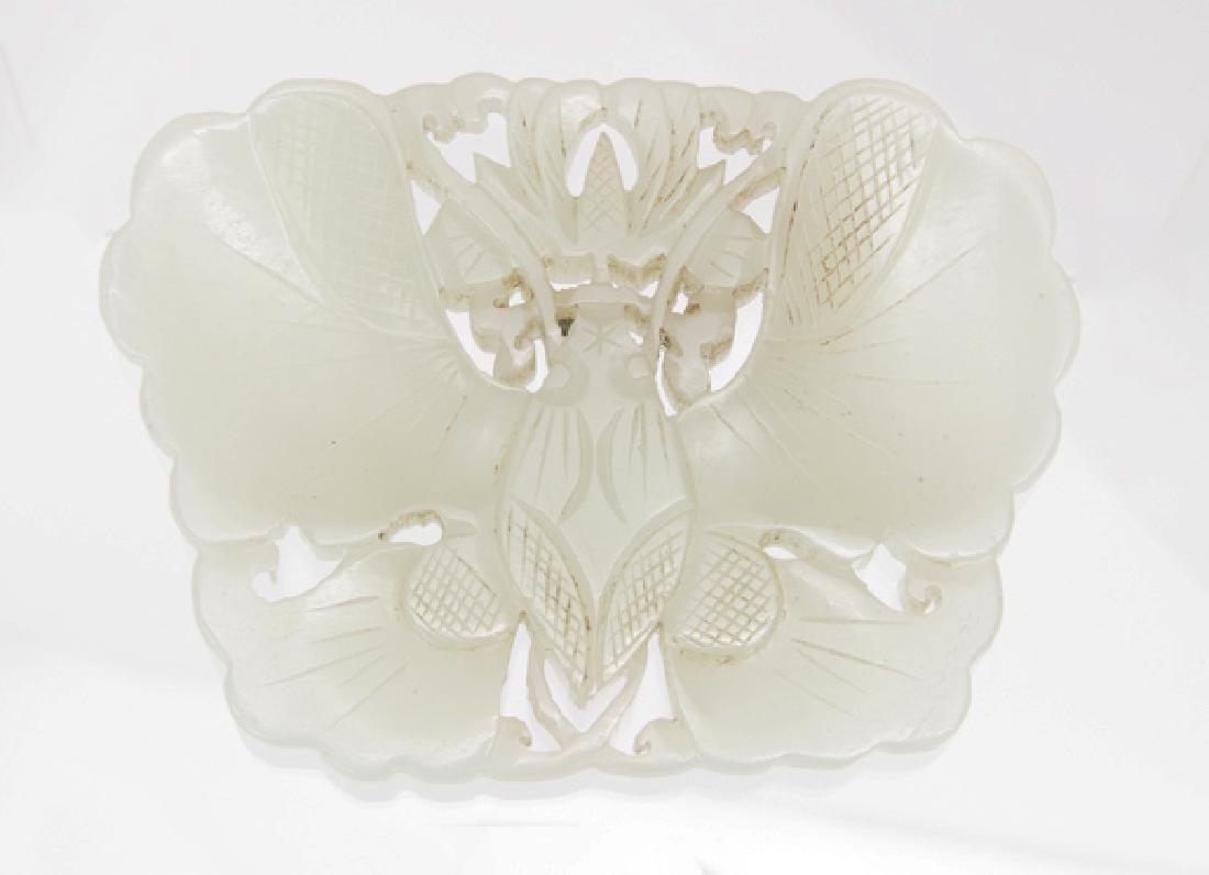 CHINESE CARVED GREEN JADE BUTTERFLY PENDANT