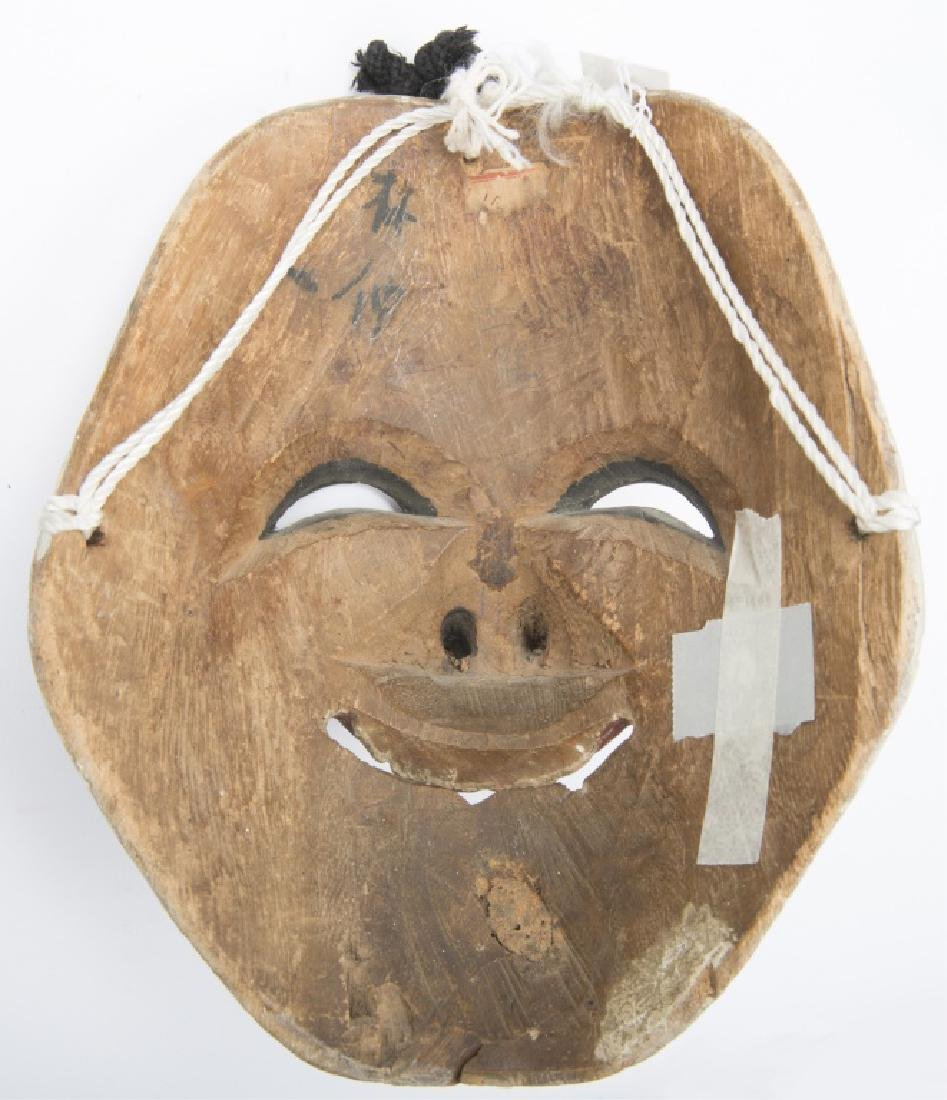 JAPANESE CARVED WOOD NOH MASK - 2