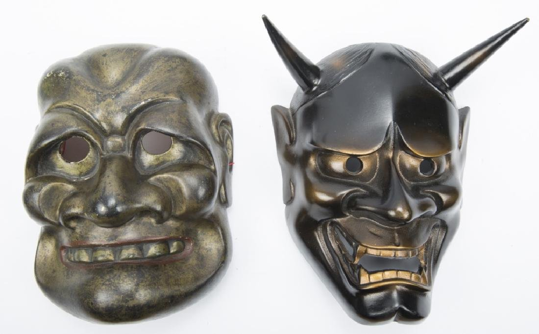 TWO JAPANESE BRONZE & WOOD NOH MASK