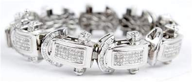 DIAMOND LINK BRACELET 14K WHITE GOLD