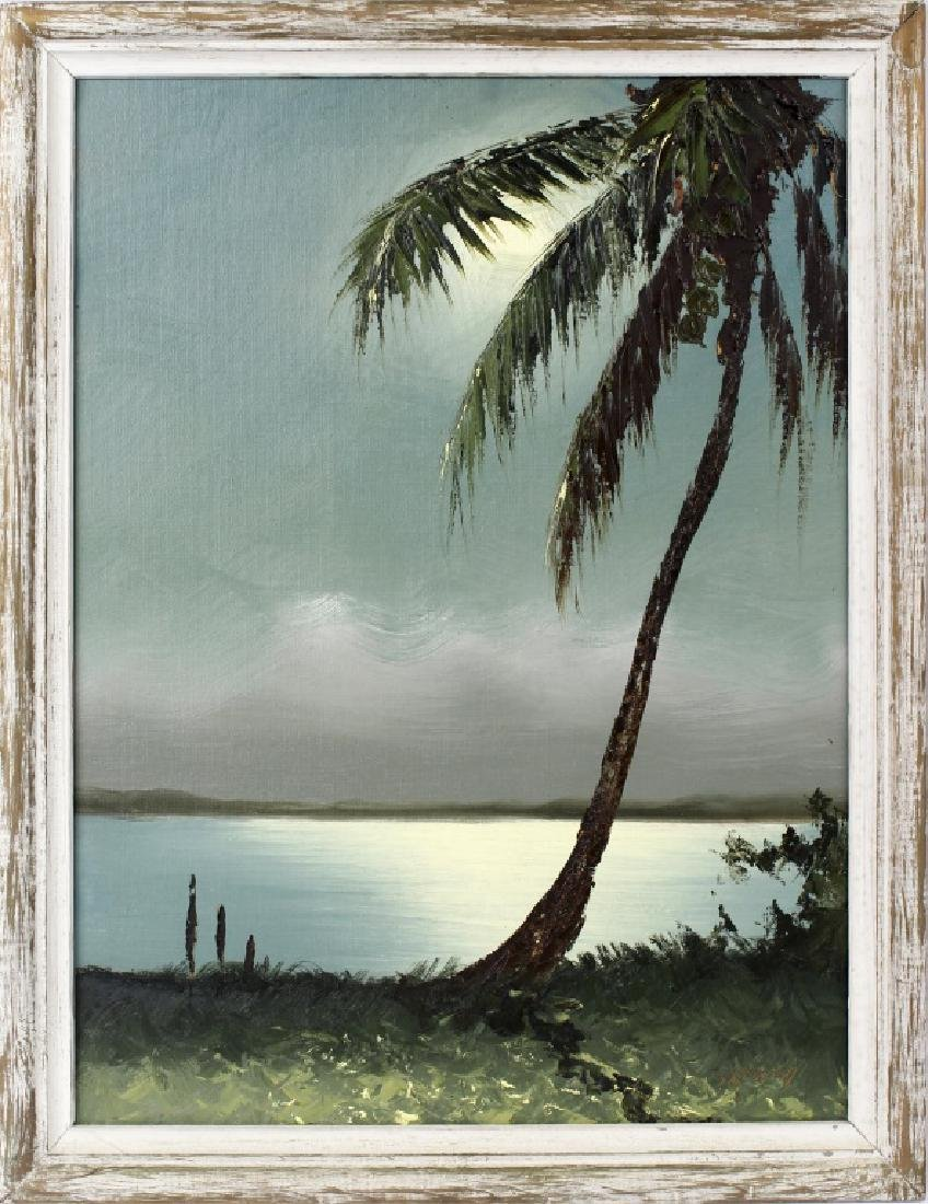 SAM NEWTON MOONLIT FLORIDA SCENE OIL ON BOARD