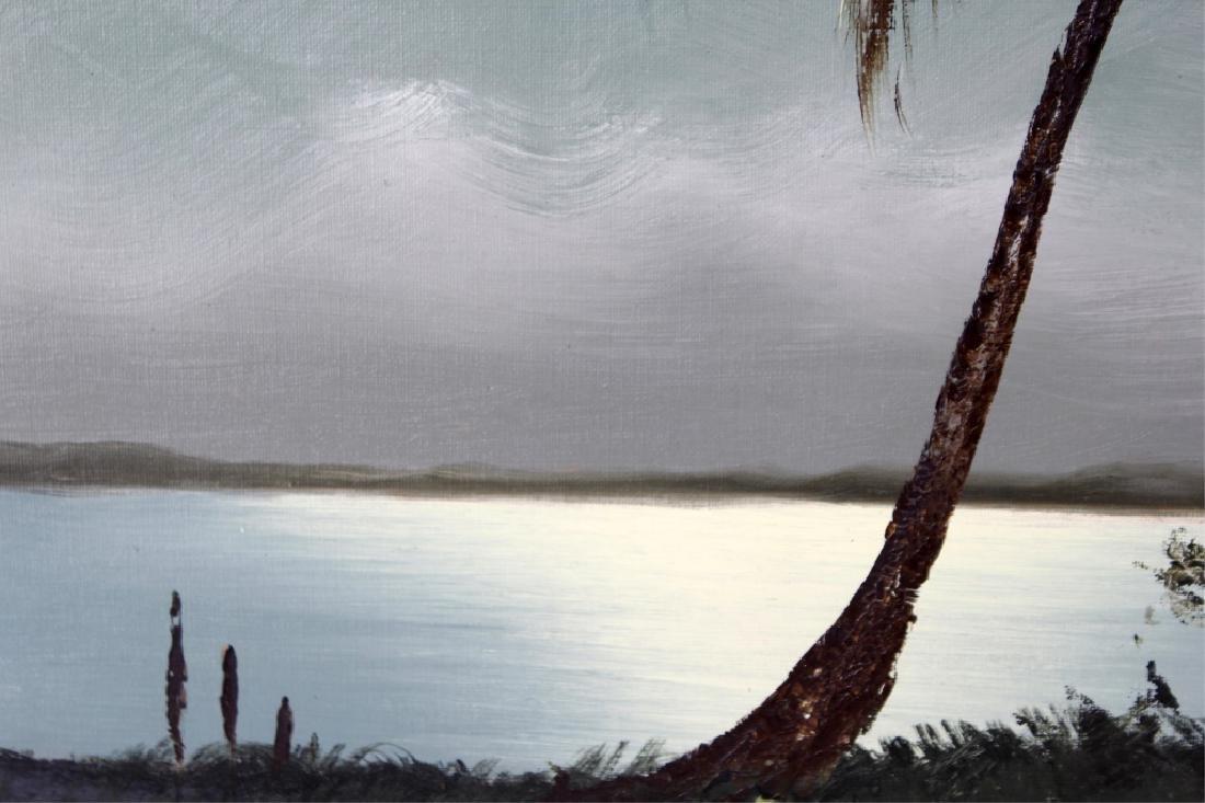 SAM NEWTON MOONLIT FLORIDA SCENE OIL ON BOARD - 2