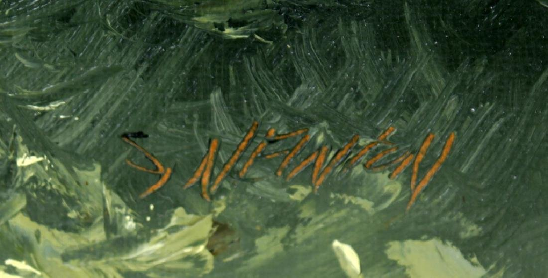 SAM NEWTON MOONLIT FLORIDA SCENE OIL ON BOARD - 3