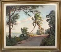 ALBERT BACKUS OIL ON CANVAS OLD FLORIDA LANDSCAPE