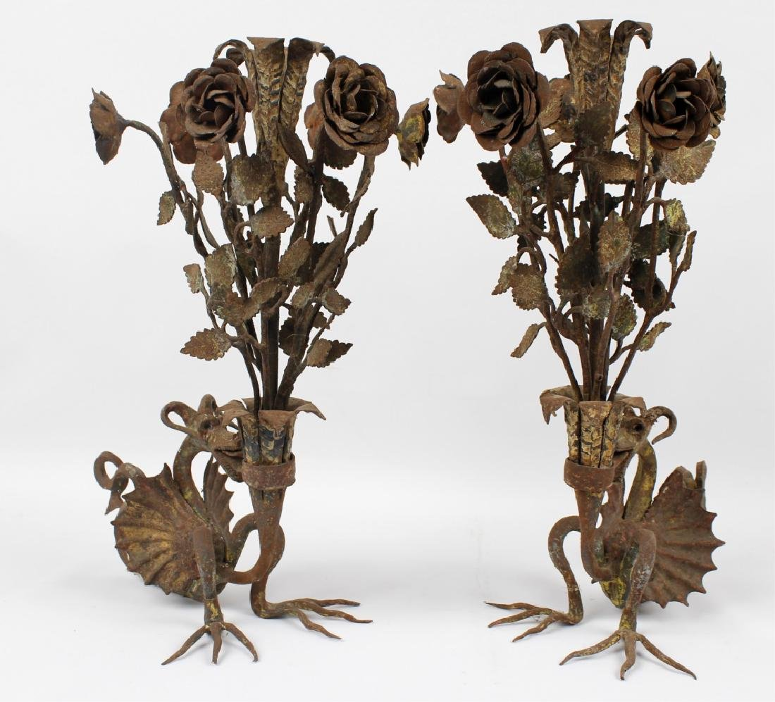 GOTHIC DRAGON WROUGHT IRON CANDLESTICKS