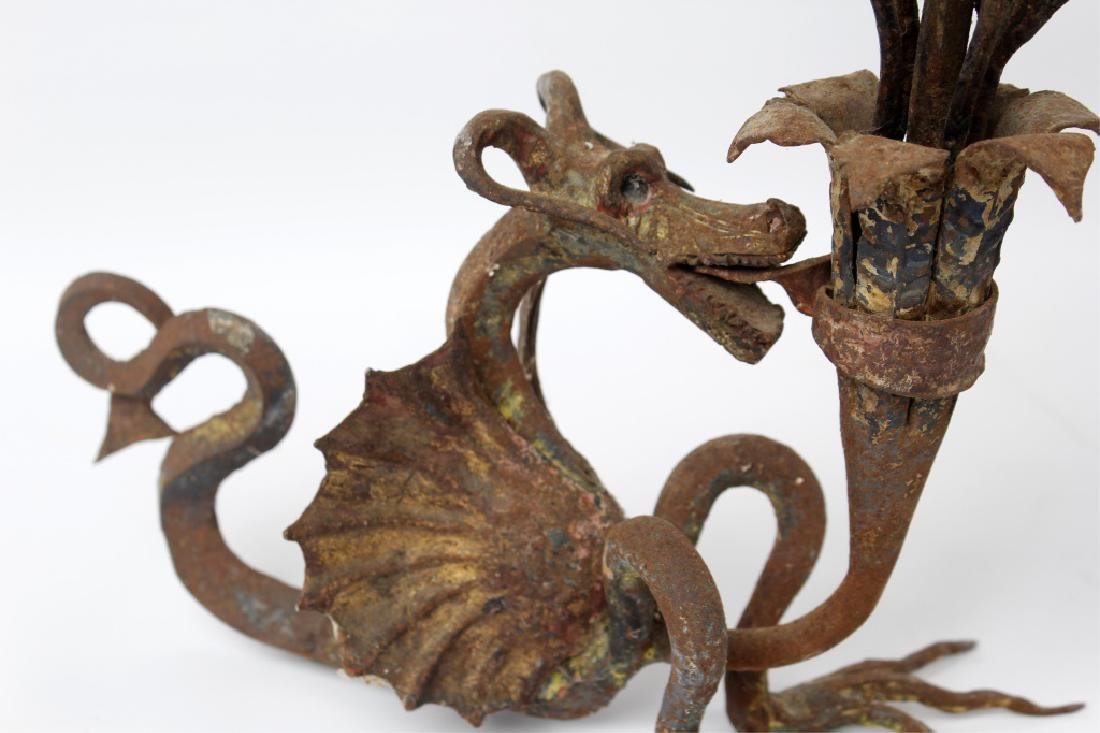 GOTHIC DRAGON WROUGHT IRON CANDLESTICKS - 2