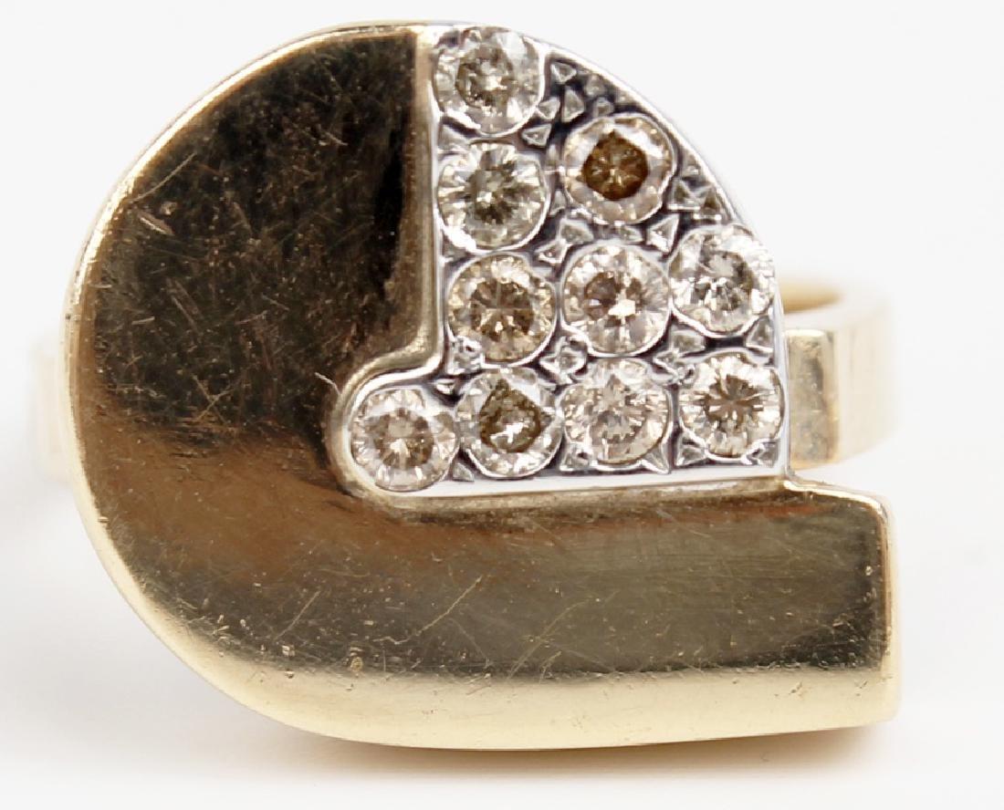 14K YELLOW GOLD CUSTOM DIAMOND RING - 2