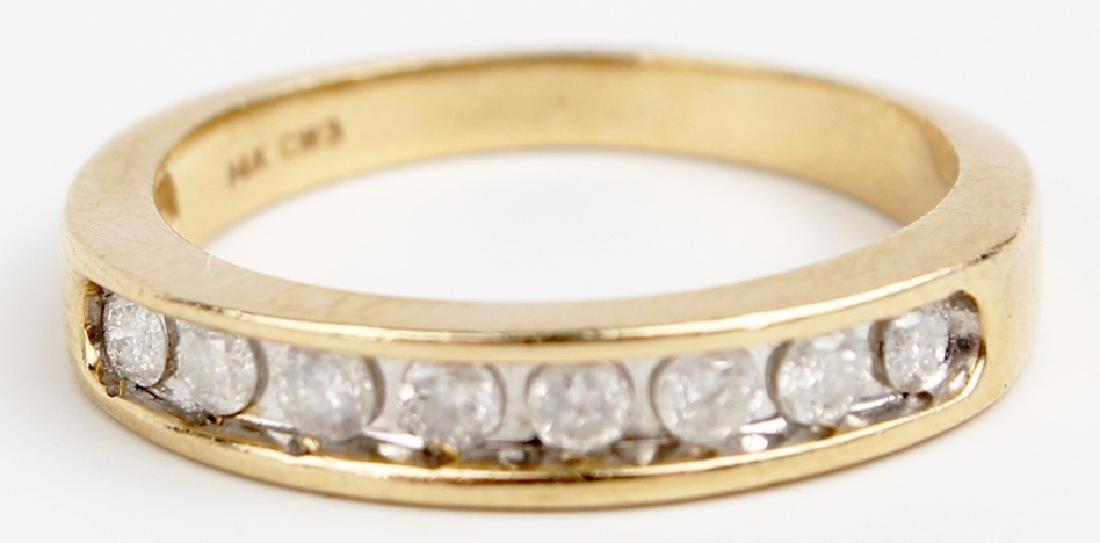 14K YELLOW GOLD LADIES DIAMOND RING - 2