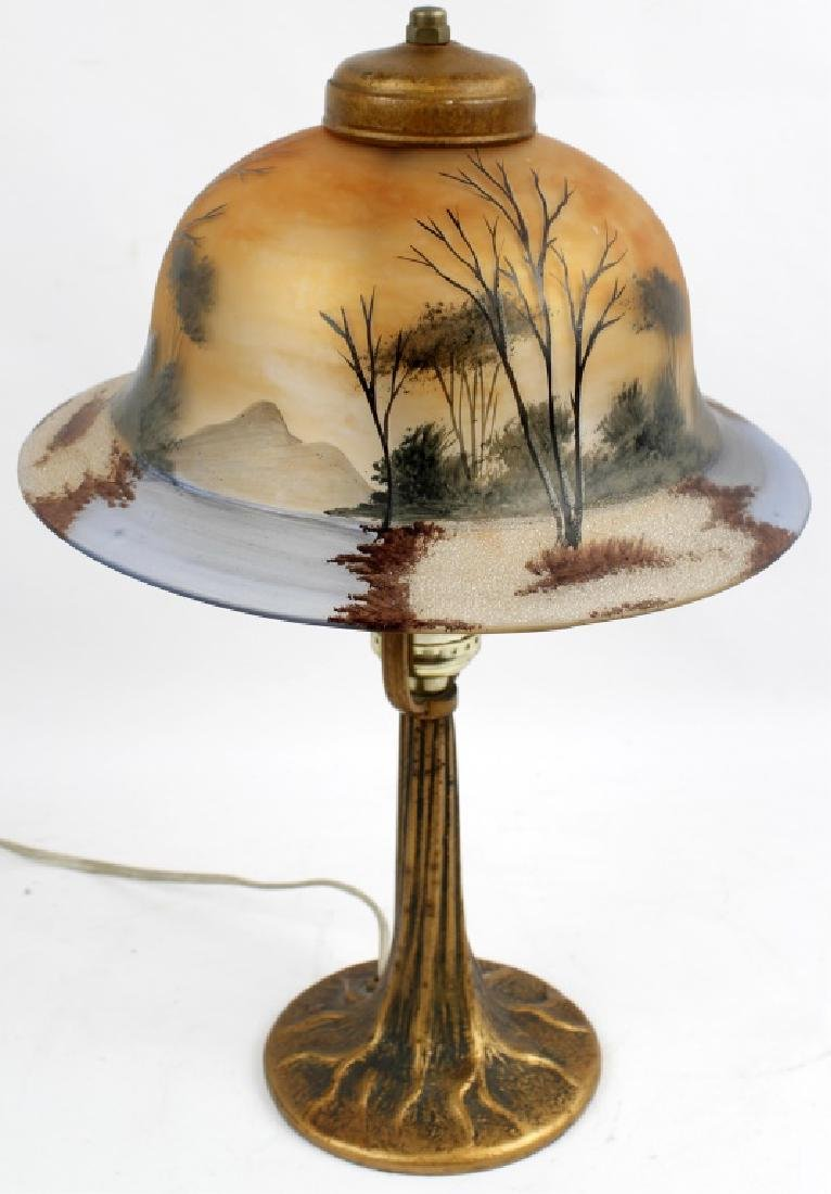 PAIRPOINT STYLE REVERSE PAINTED TREE LAMP