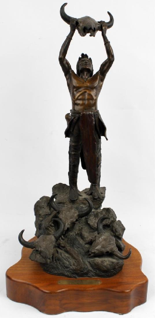 BRONZE NATIVE AMERICAN AFTER FREDERIC REMINGTON
