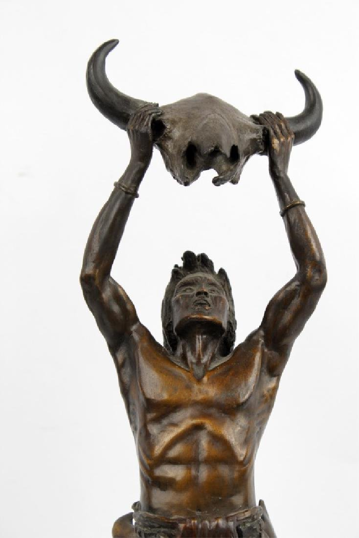 BRONZE NATIVE AMERICAN AFTER FREDERIC REMINGTON - 2