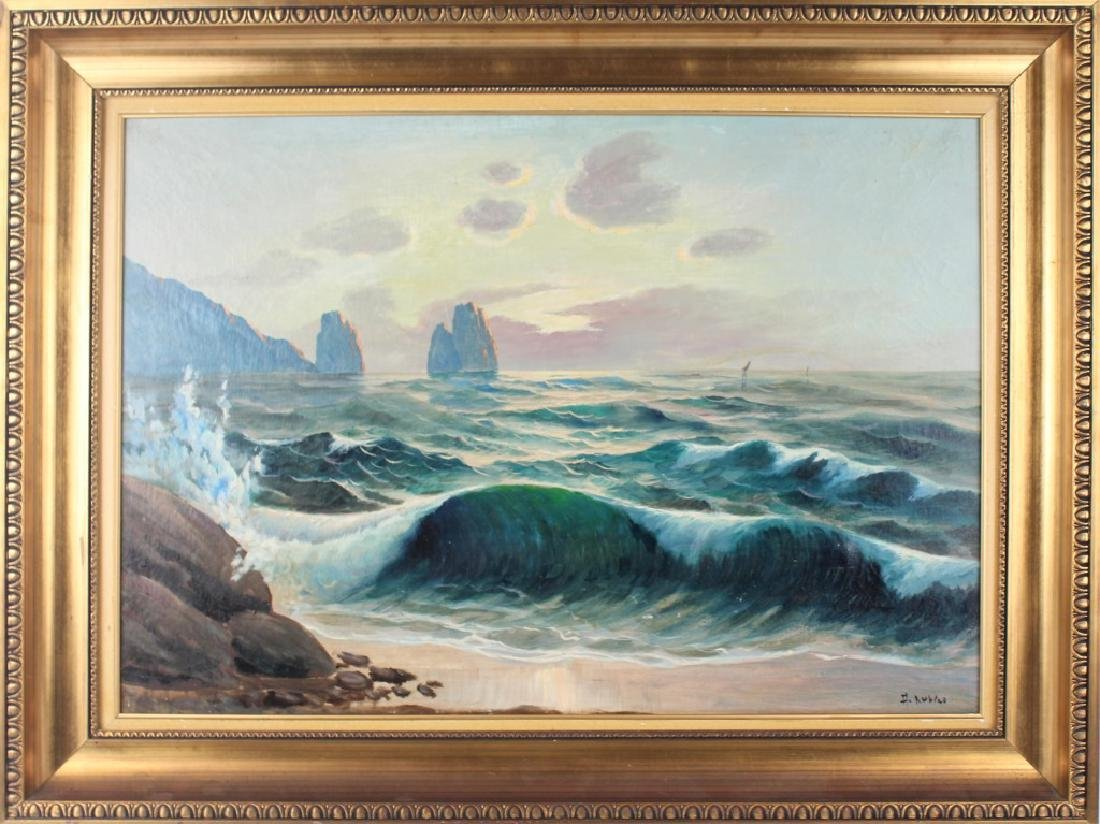 ADOLPH RUBINO SEASCAPE OIL ON CANVAS SIGNED