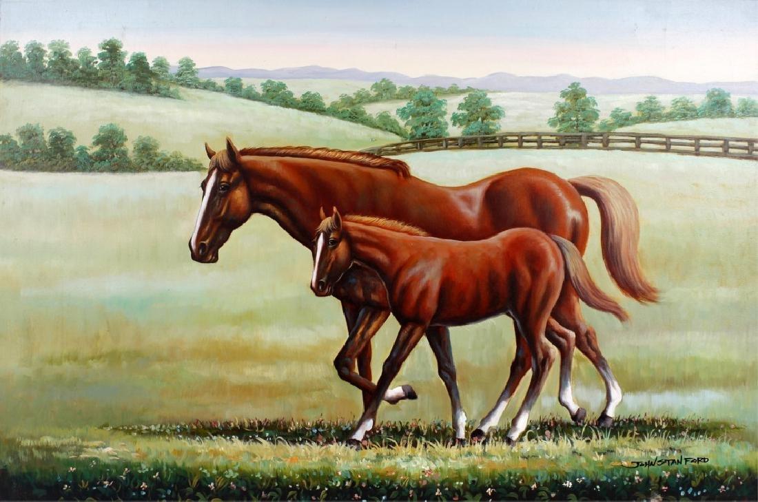JOHN STANFORD OIL ON CANVAS HORSE LANDSCAPE