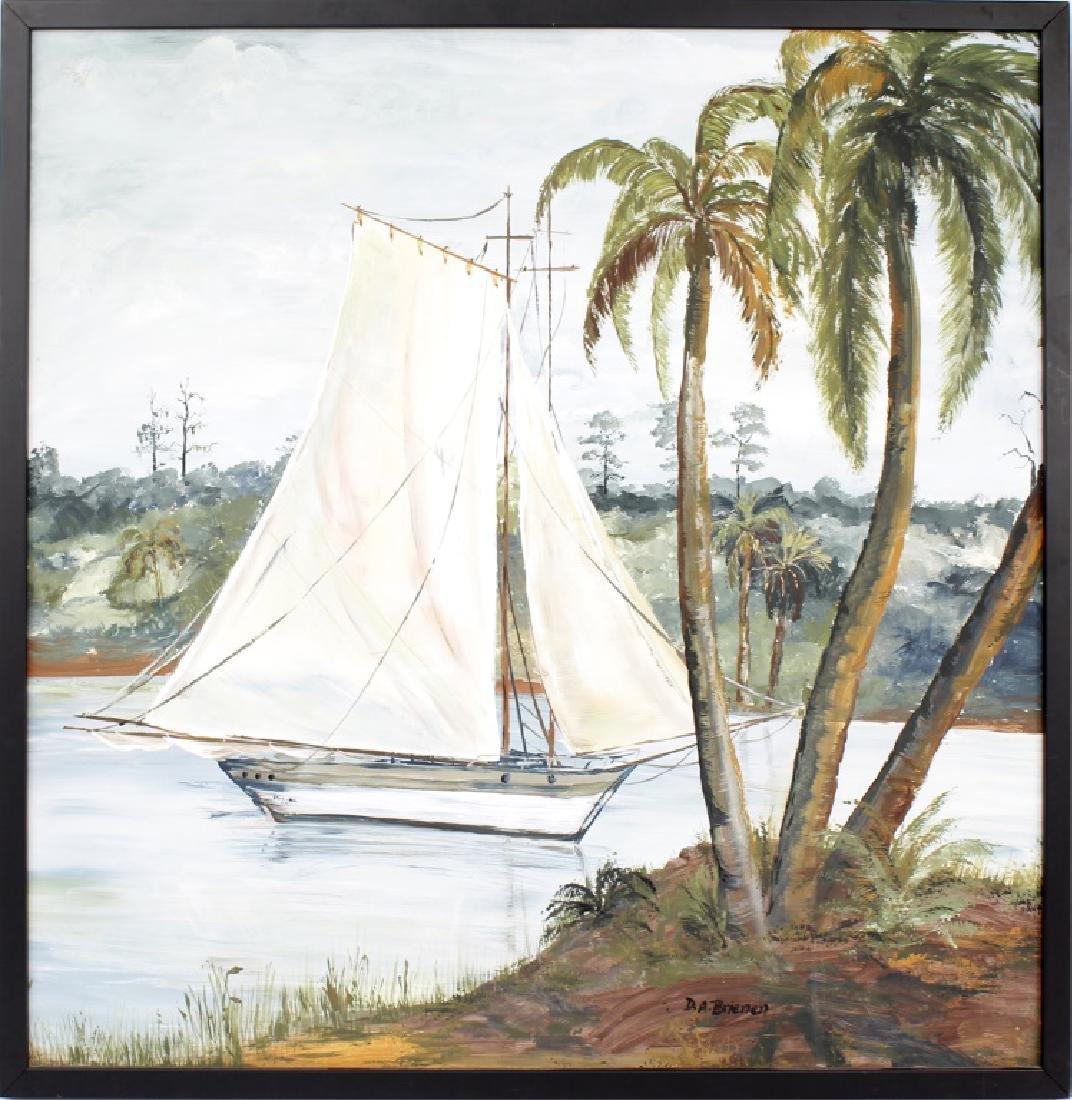D.A. BRIENEN FLORIDA SAILBOAT ACRYLIC ON BOARD