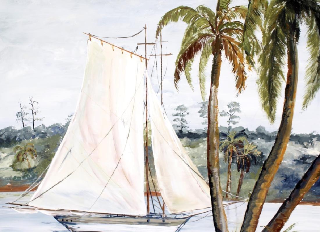 D.A. BRIENEN FLORIDA SAILBOAT ACRYLIC ON BOARD - 2