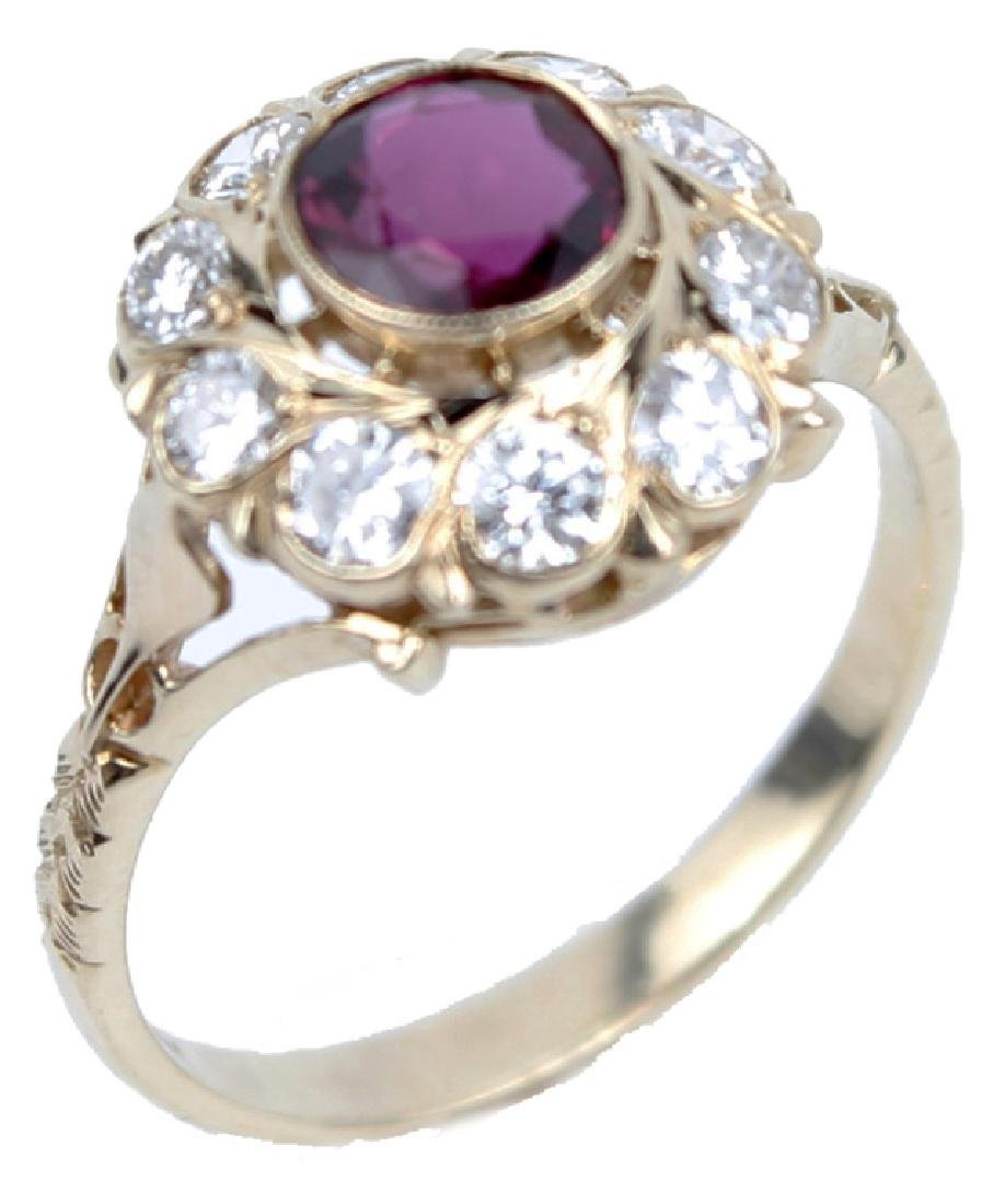 14K YELLOW GOLD NATURAL RUBY AND DIAMOND RING
