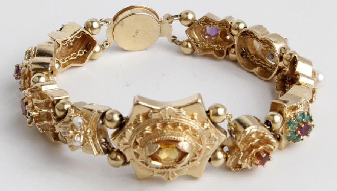 14K YELLOW GOLD GEMSTONE LADIES BRACELET