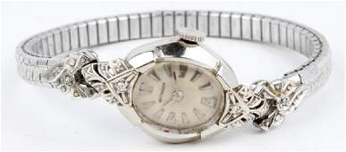LADIES WITTNAUER 14K WHITE GOLD WRIST WATCH