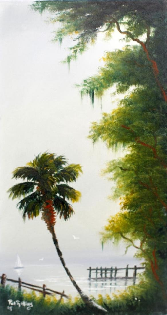 PAT ROLLINS FLORIDA ARTIST PALM BY THE DOCK OIL