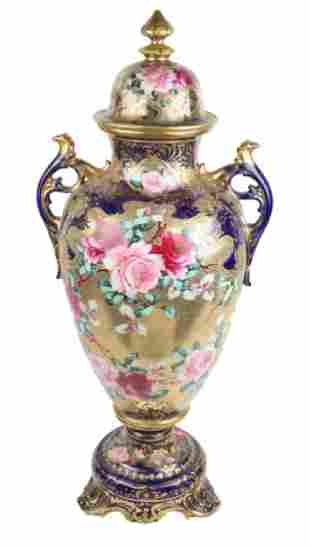 LARGE NIPPON MORRIAGE HAND PAINTED LIDDED URN