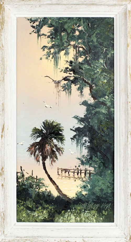 SAM NEWTON FLORIDA HIGHWAYMEN OIL ON UPSON
