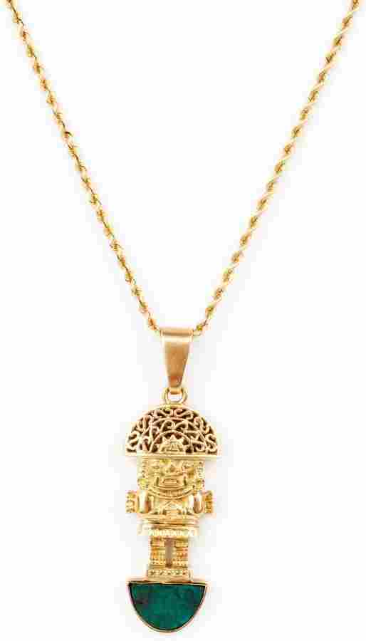 18K YELLOW GOLD AZTEC FIGURAL PENDANT AND CHAIN