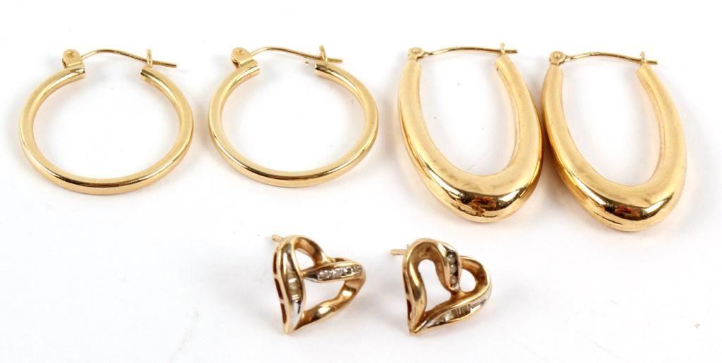 LADIES YELLOW GOLD EARRINGS - DIAMOND HEART, HOOPS