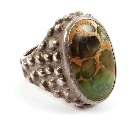 STERLING SILVER TURQUOISE RING PHIL ROWE