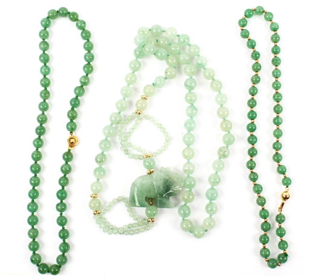 GREEN JADE & GOLD BEADED NECKLACES - LOT OF 3