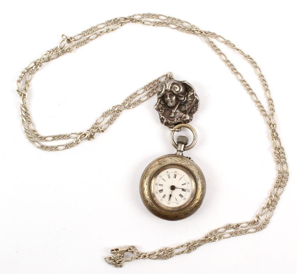 L. PACOT STERLING SILVER LADIES POCKET WATCH