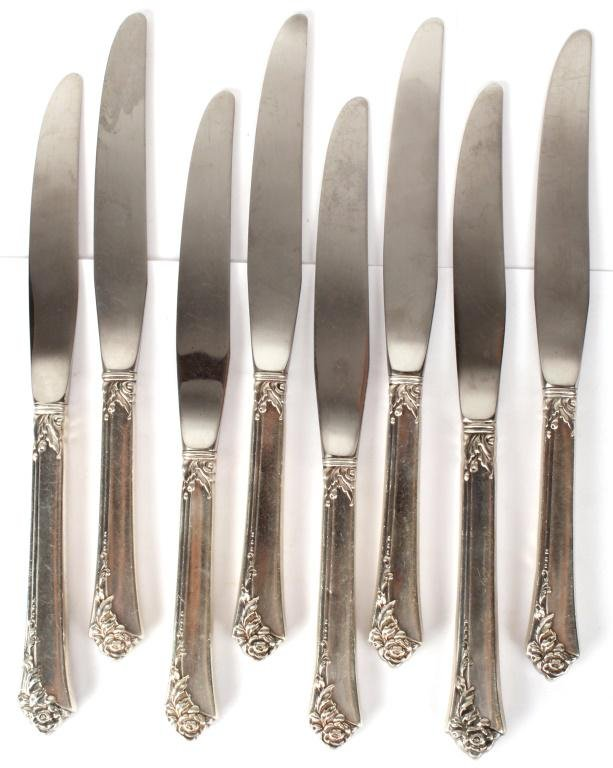 HEIRLOOM STERLING SILVER DAMASK ROSE KNIVES - 8PCS
