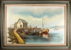 JOHN A.LUINI NEW ENGLAND HARBOR SCENE OIL PAINTING
