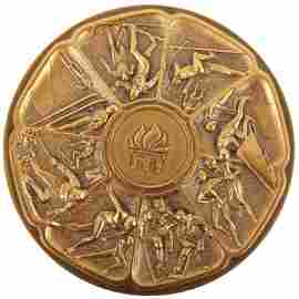 OLYMPIC AUTHORITY LAKE PLACID SOLID BRONZE MEDAL