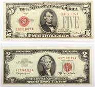 1928B $5 & 1963A $2 RED SEAL LEGAL TENDER NOTES