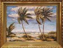 AEBACKUS FLORIDA ARTIST OIL ON CANVAS BEACH SCENE