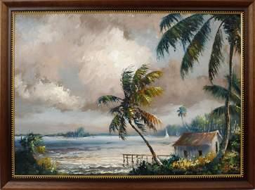 HAROLD NEWTON FLORIDA HIGHWAYMEN OIL ON BOARD