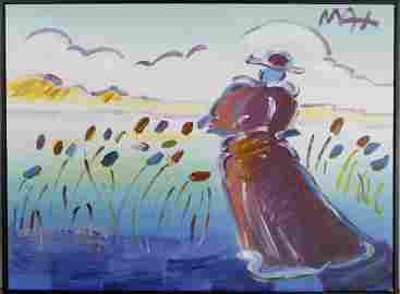 PETER MAX POPPY FIELD ORIGINAL OIL ON CANVAS