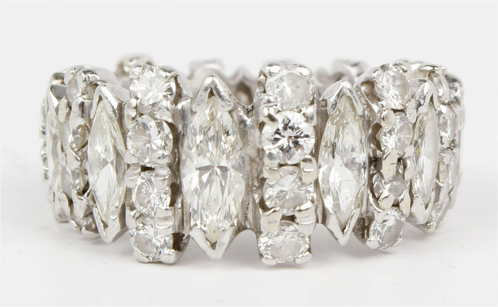 LADIES PLATINUM & DIAMOND MARQUISE ETERNITY BAND