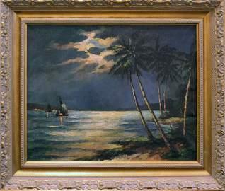 A.E. BACKUS FLORIDA  ARTIST SAILING UNDER FULLMOON