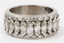 18K WHITE GOLD MARQUISE DIAMOND BAND RING