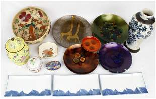 LOT OF ASIAN CLOISONNE AND SATSUMA POTTERY