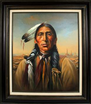KENNETH SU OIL ON CANVAS NATIVE AMERICAN