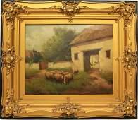 SHEEP GRAZING ON FARM PAINTING ORNATE GILT FRAME
