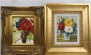 LOT OF 2 FLORAL STILL LIFE OIL PAINTINGS GILT