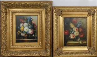 LOT OF FLORAL STILL LIFE OIL PAINTINGS GILT FRAME